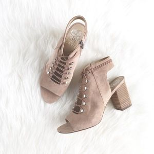"Vince Camuto ""Charlize"" Taupe Suede Laceup Booties"